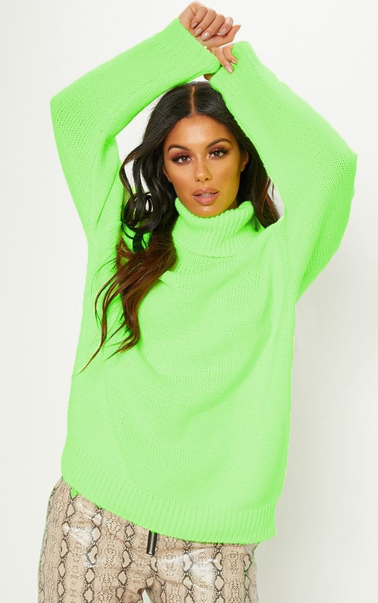 Lime High Neck Fluffy Knit Sweater  3