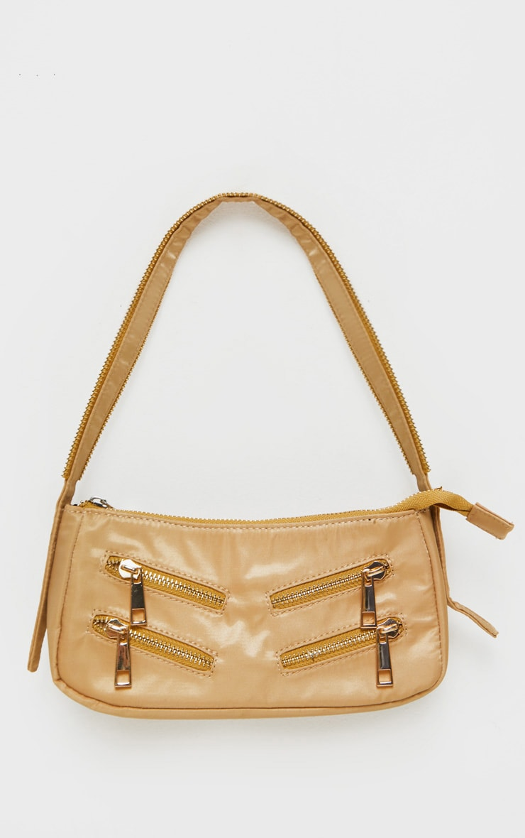 Camel Satin Front Zip Detail Shoulder Bag 2