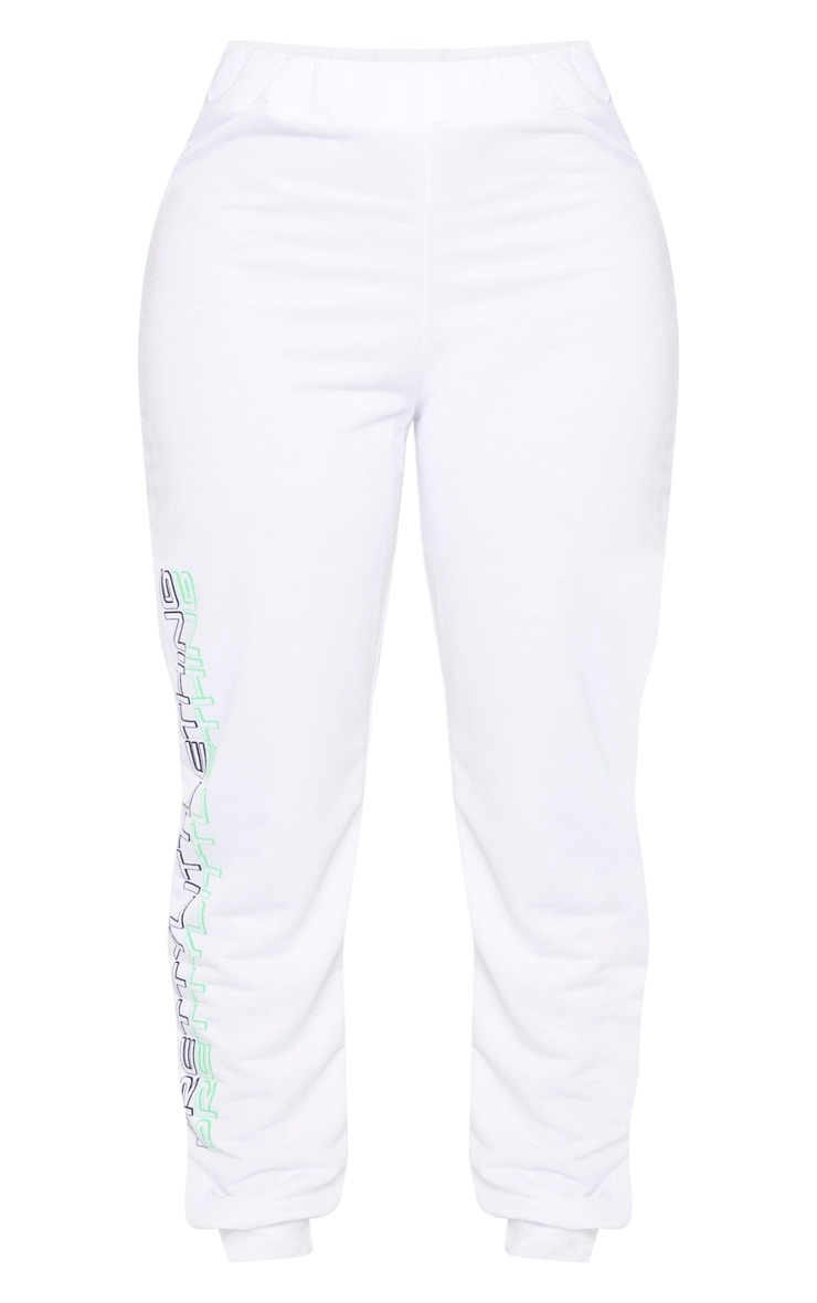 PRETTYLITTLETHING Shape White Printed Drawstring Joggers 3