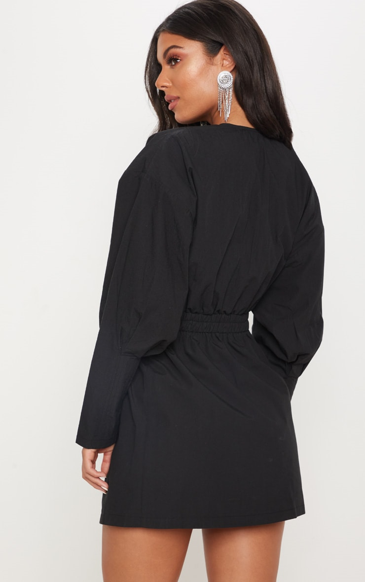 Black Plunge Ruched Shirt Dress 2