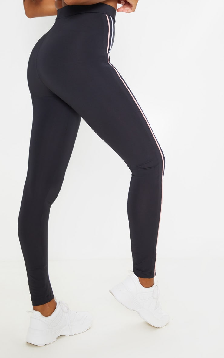Black Side Stripe Gym Legging 4