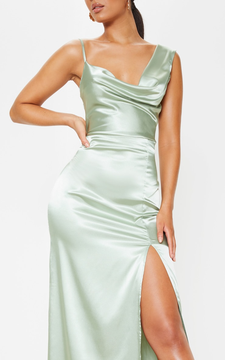 Sage Green Satin Cowl Neck Maxi Dress 5