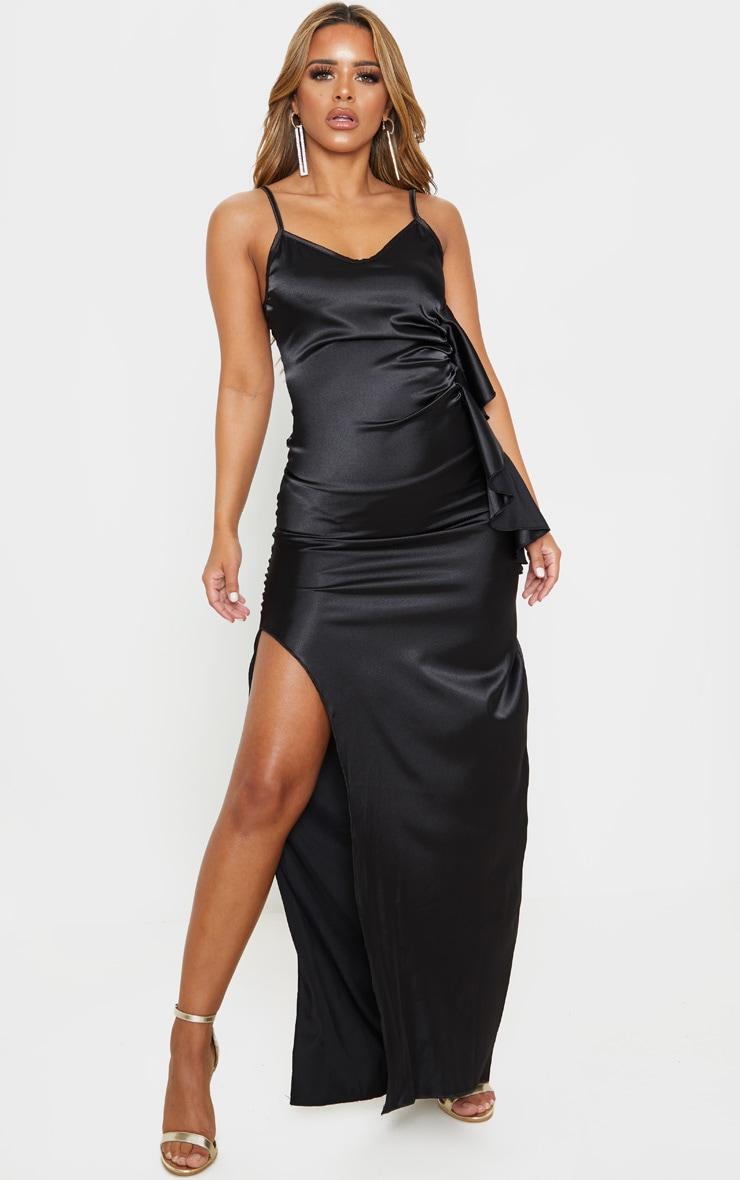 Petite Black Frill Detail Double Split Satin Maxi Dress 1