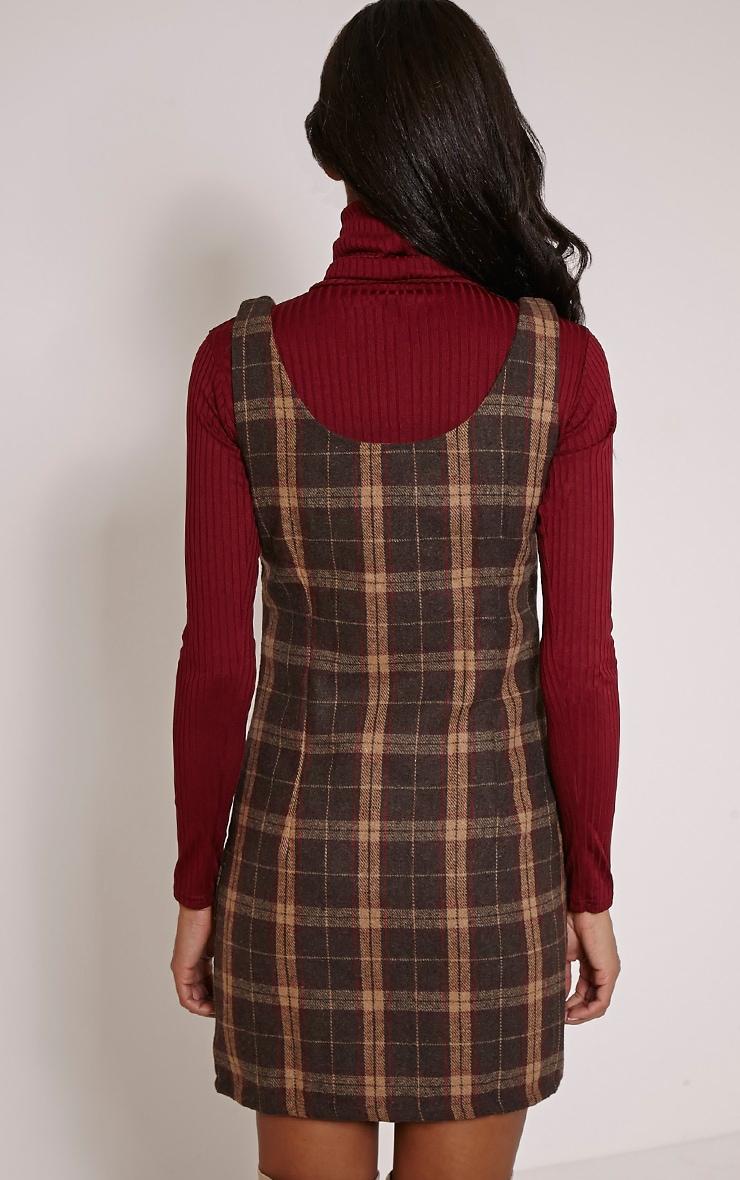 Julli Brown Checked Pinafore Dress 2