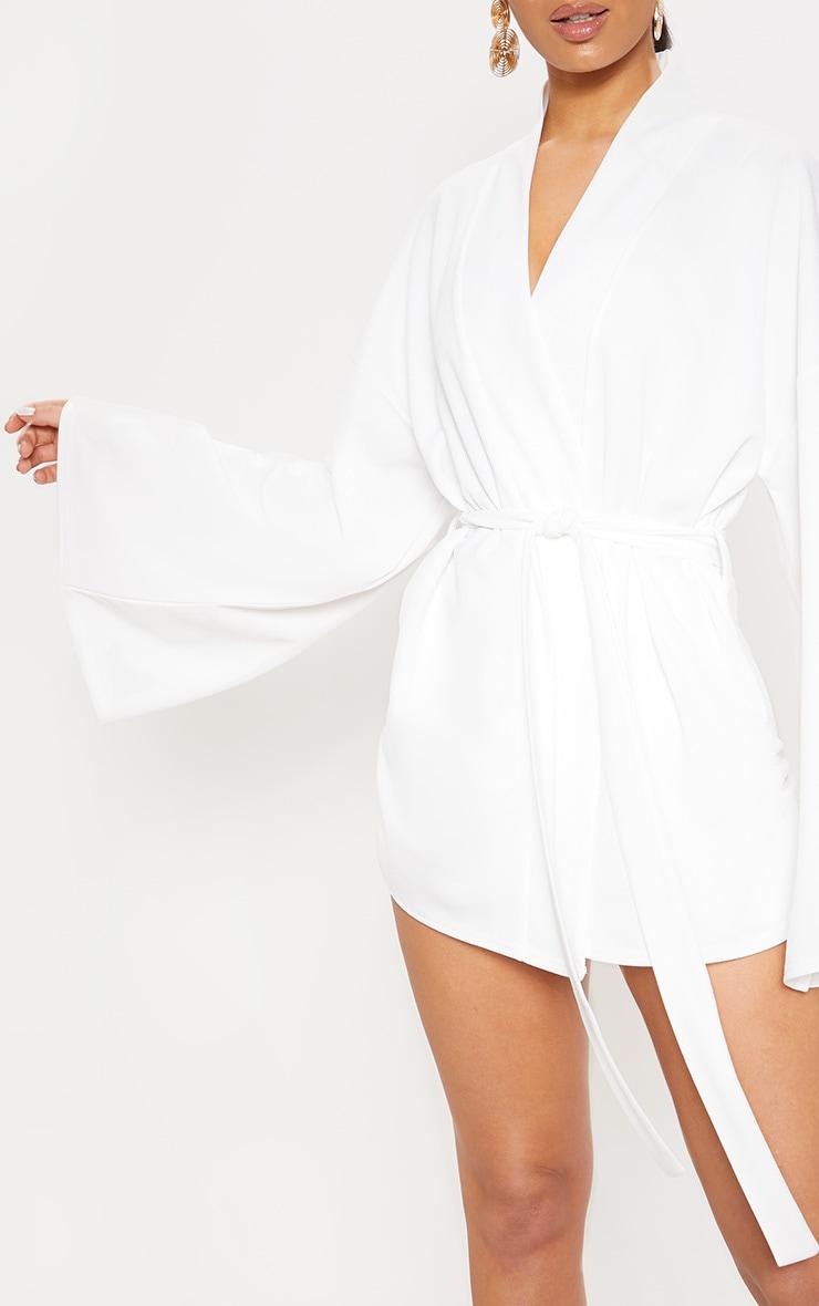 White Waist Tie Playsuit 5