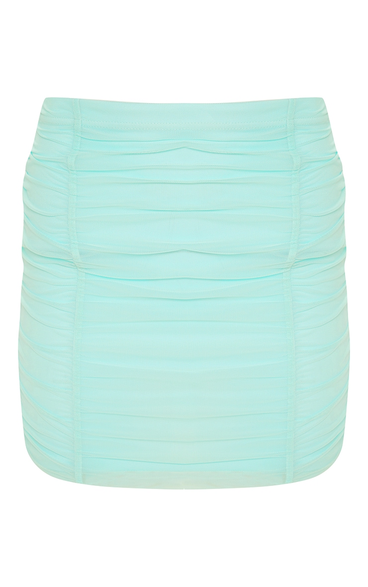 Aqua Second Skin Ruched Mesh Bodycon Skirt 3