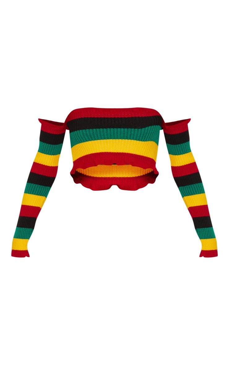 Rainbow Stripe Knitted Frill Bardot Top  3