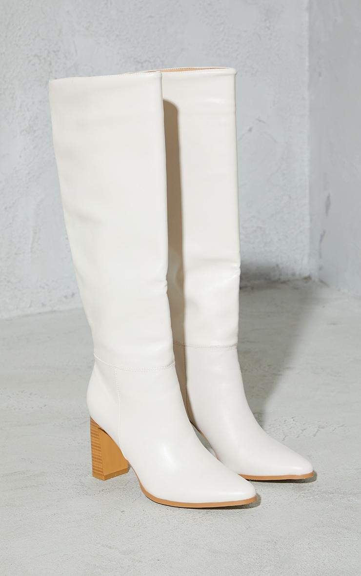 Cream Block High Heel Knee Boots 3