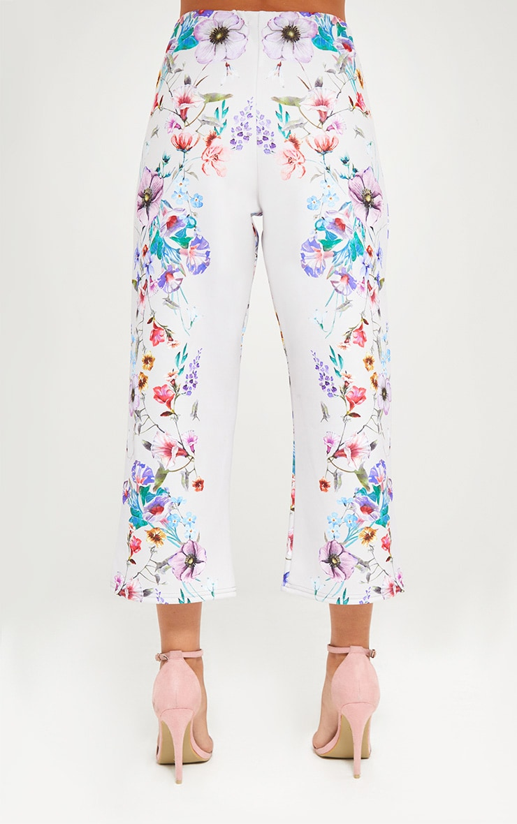 Grey Floral Placement Print Culottes 3