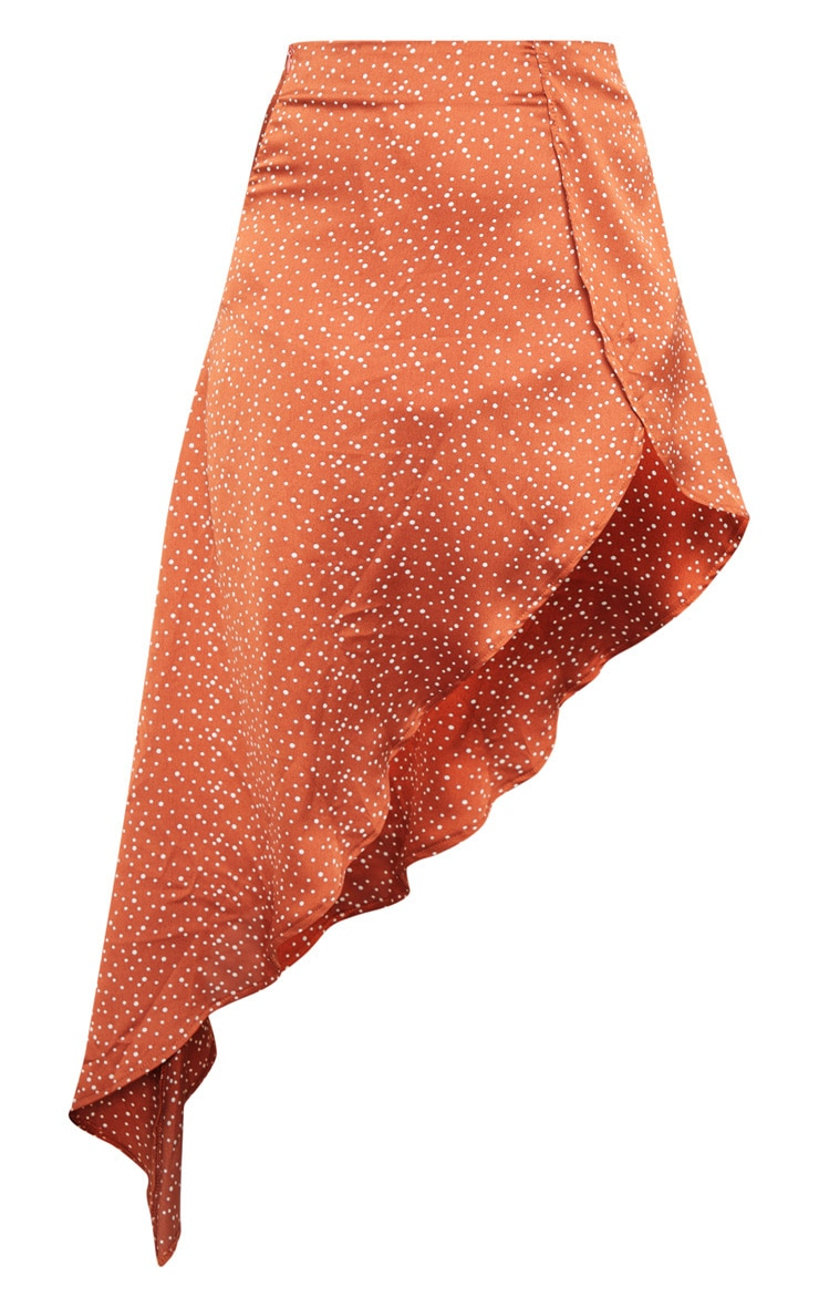 Rust Polka Dot Satin Asymmetric Skirt 3