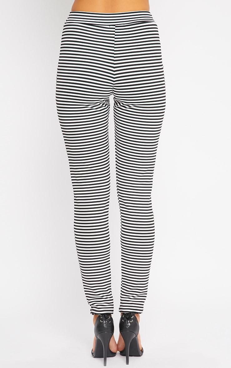 Allegra Monochrome Striped Cigarette Trousers 2