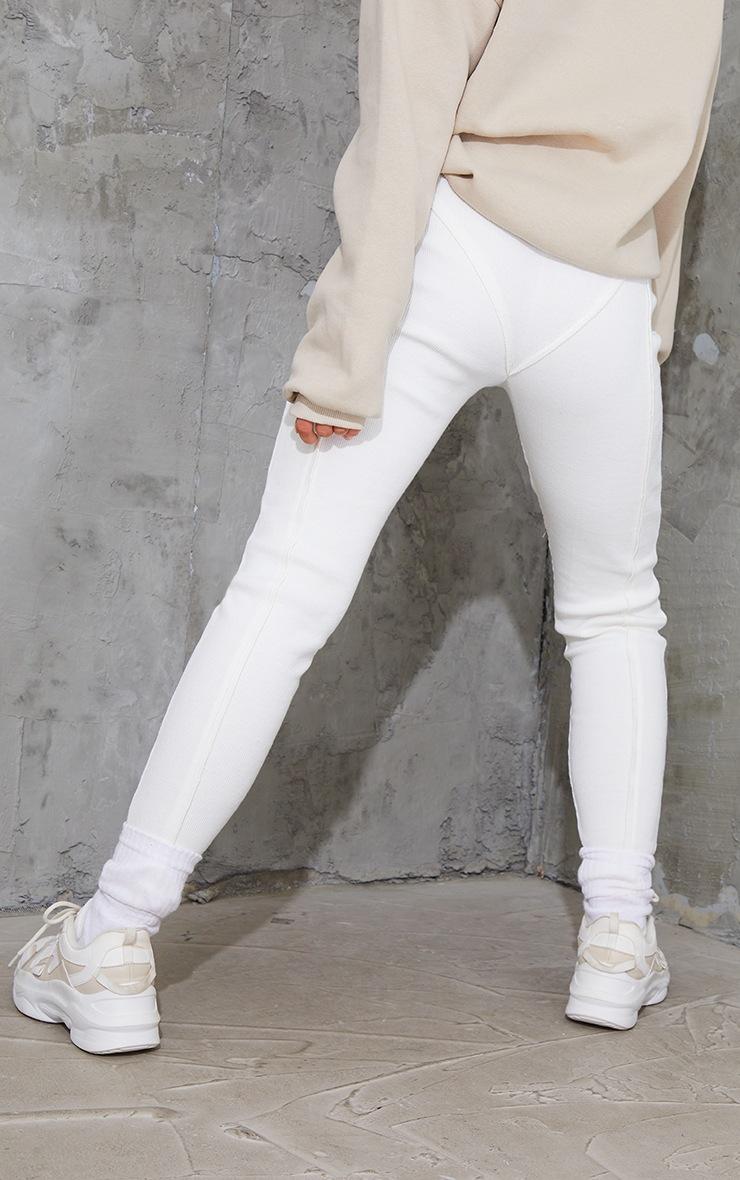 Cream Raw Edge Seam Detail Ribbed Leggings 3