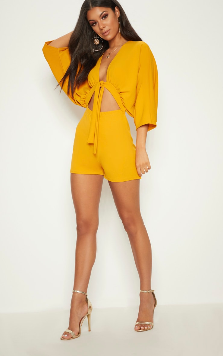 Mustard Crepe Batwing Cut Out Romper 1
