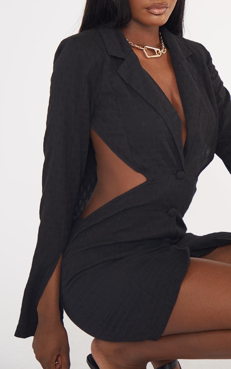Tall Black Textured Shoulder Pad Cut Out Blazer Dress 4