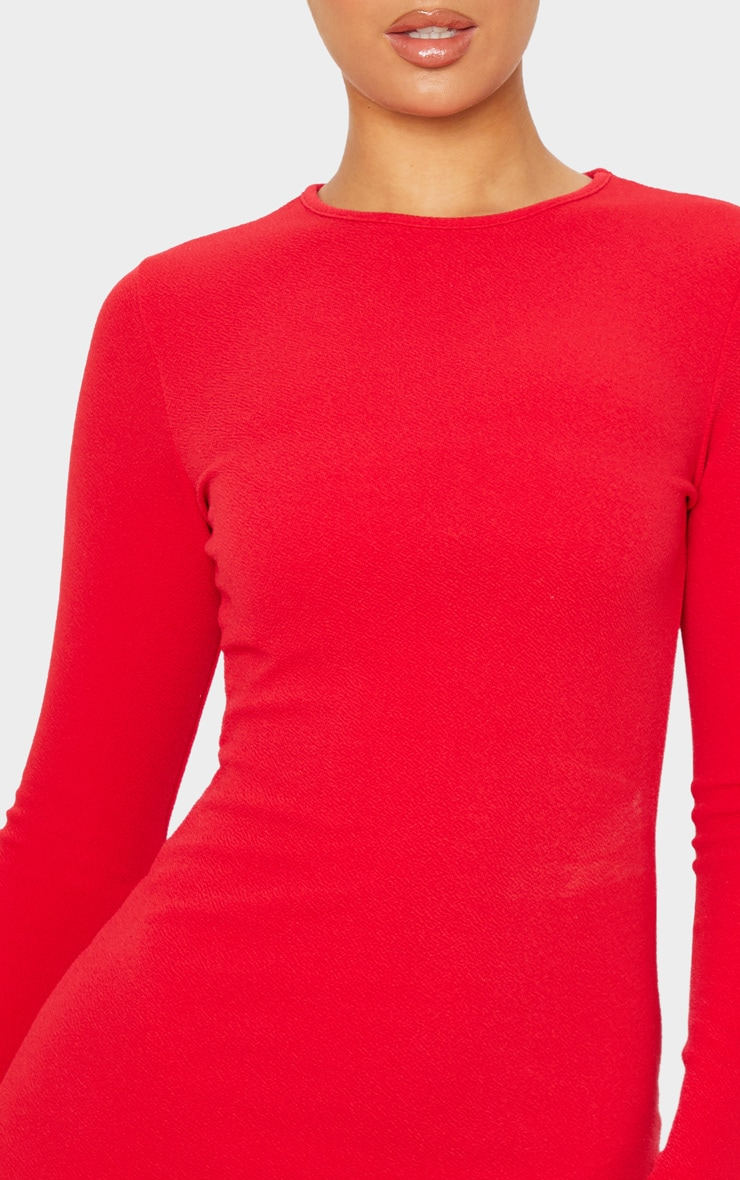 Red Long Sleeve Bodycon Dress 6
