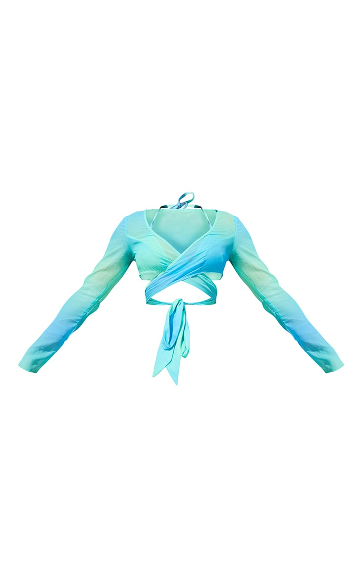 Turquoise Ombre Chiffon Tie Front Long Sleeve Beach Top 5