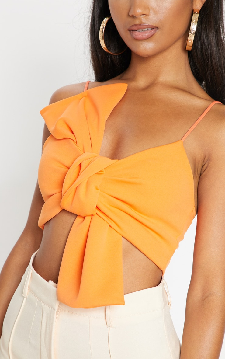 Orange Bow Front Crop Top 5