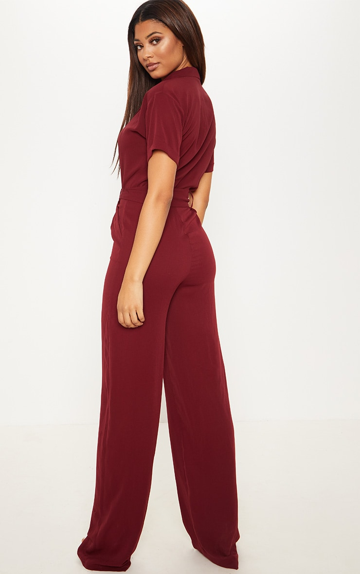 Tall Burgundy Tailored Tie Waist Wide Leg Jumpsuit 2