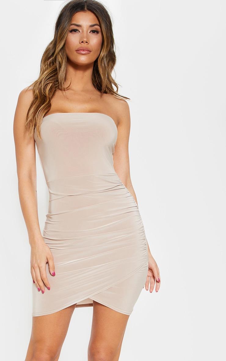 Stone Bandeau Wrap Bodycon Dress 1