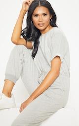 Grey Short Sleeve Sweat Jumpsuit 5