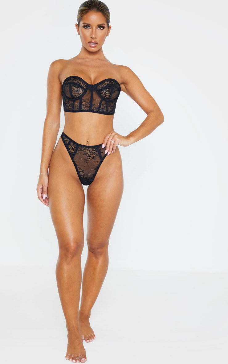 Black Delicate Lace Thong 4
