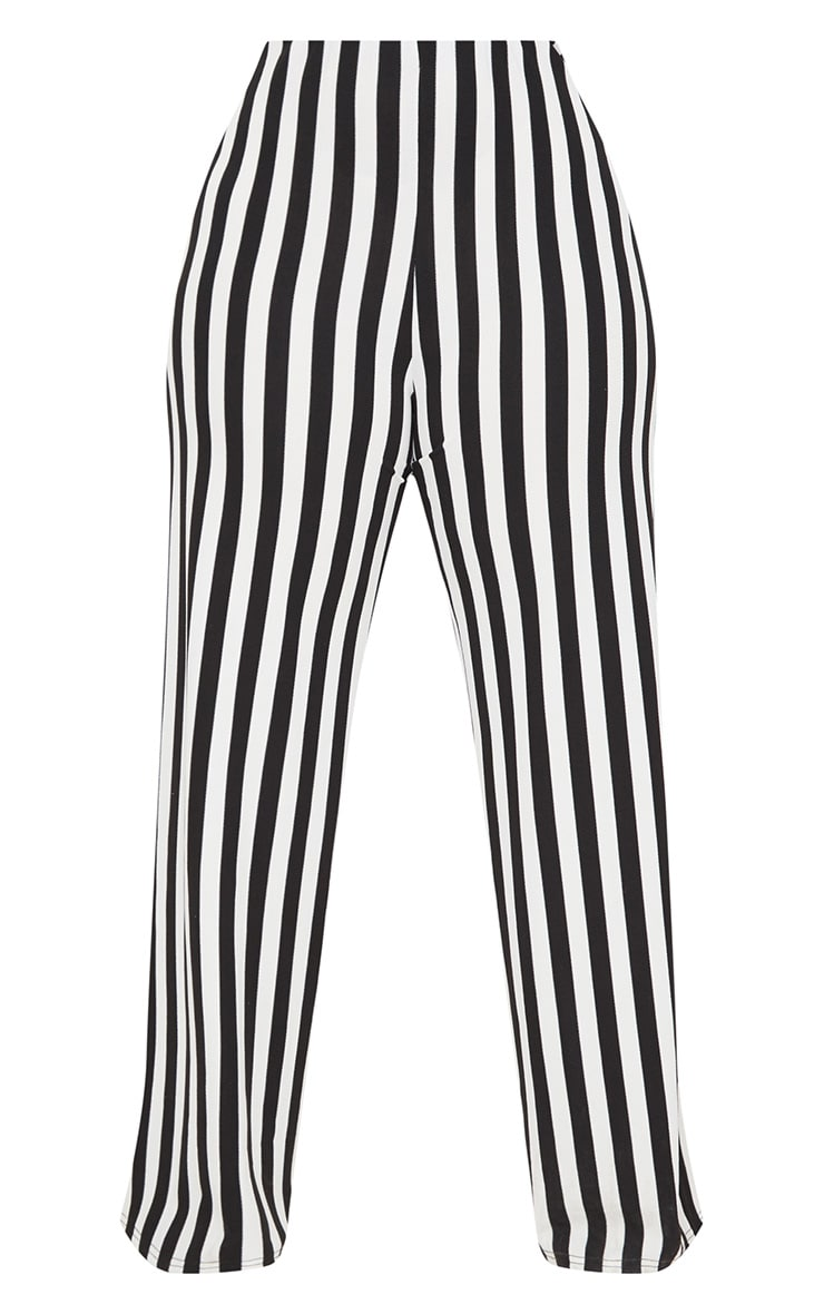 Plus Black High Waisted Crepe Striped Wide Leg Trousers 3