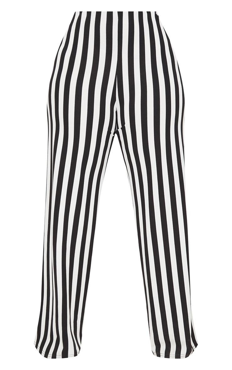 Plus Black High Waisted Crepe Stripe Wide Leg Pants 3