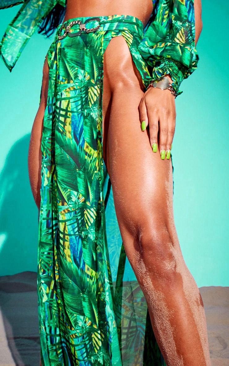 Green Tropical Gold Trim Split Front Beach Skirt 4