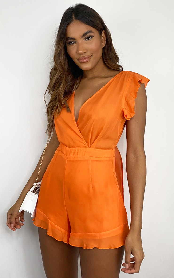 Bright Orange Tie Back Romper 3