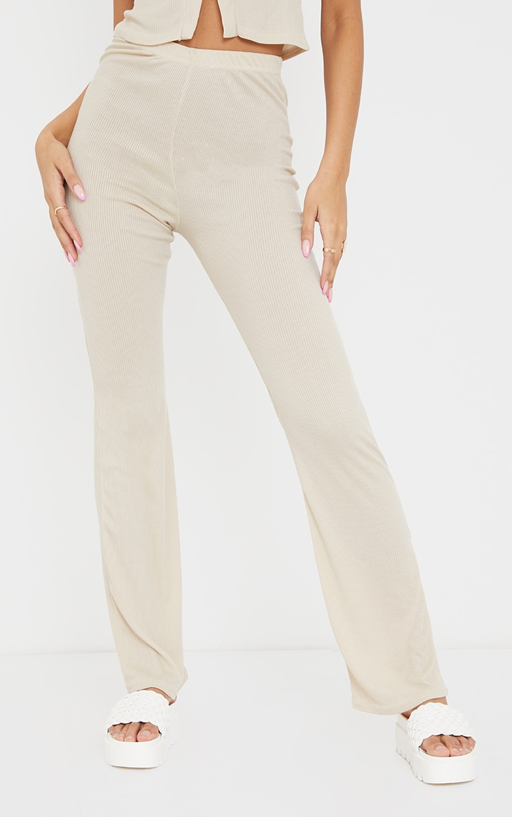 Oatmeal Ribbed Straight Leg Trousers 2