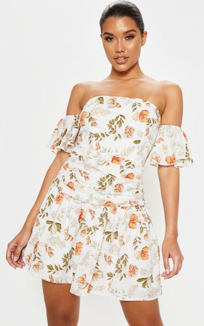 White Floral Print Bardot Pleated Waist Skater Dress