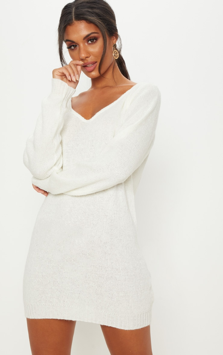 Teylie Cream Soft Knitted Off Shoulder Mini Dress 4