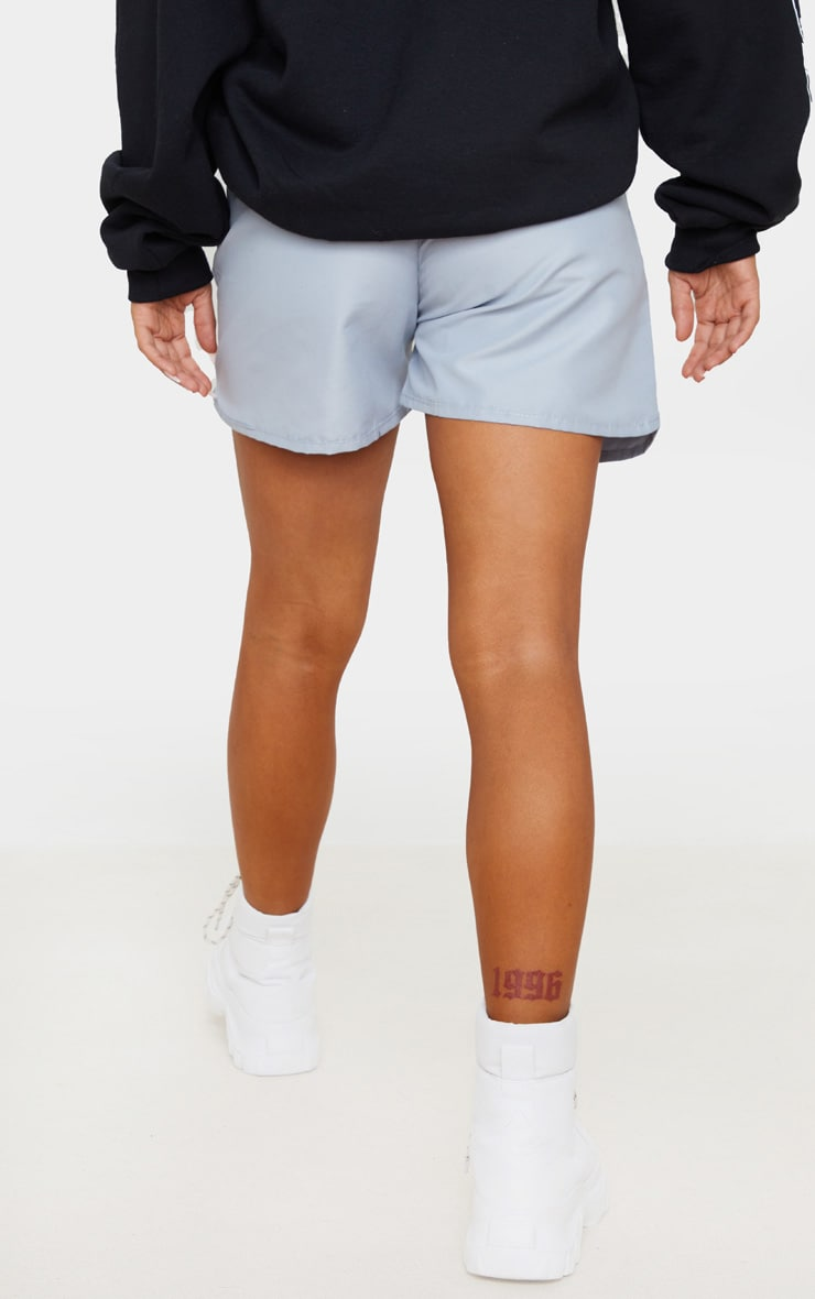 PRETTYLITTLETHING Grey Woven Contrast Drawstring Shorts 3