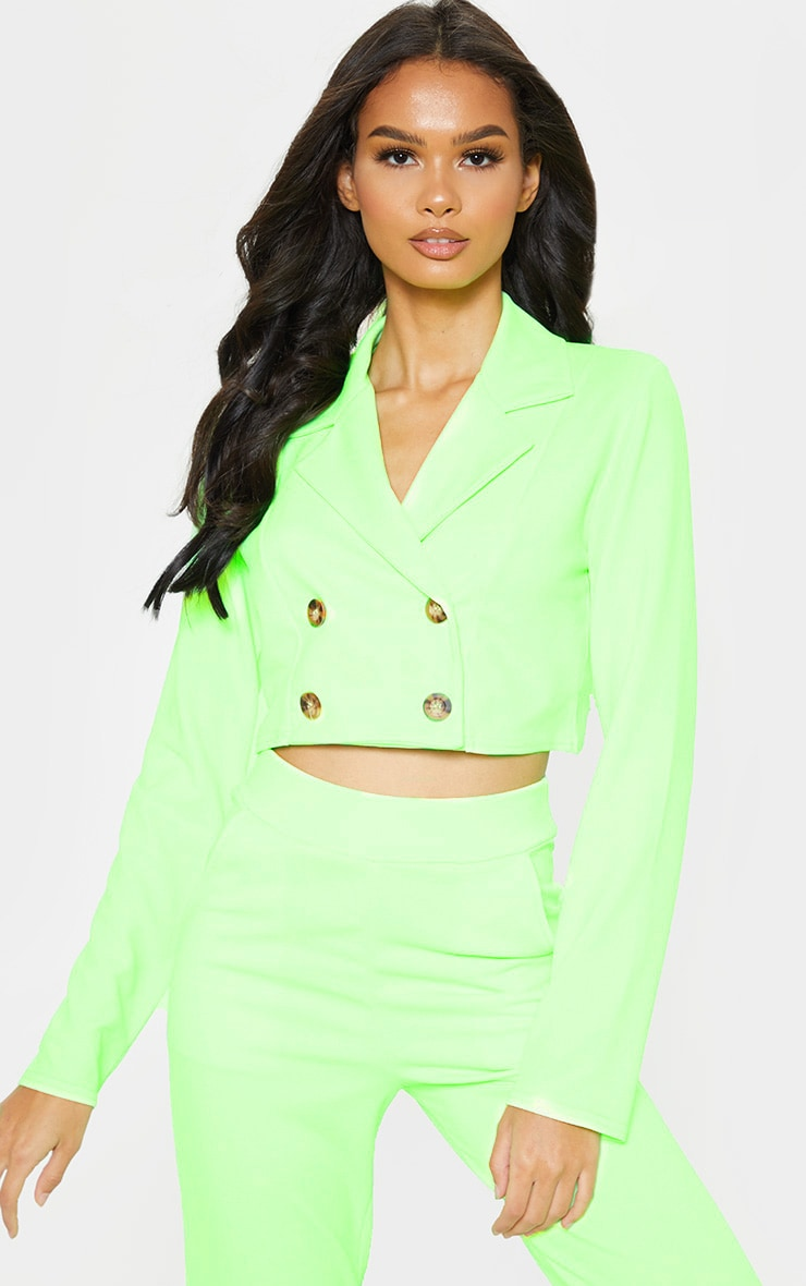 Neon Green Cropped Suit Blazer  4