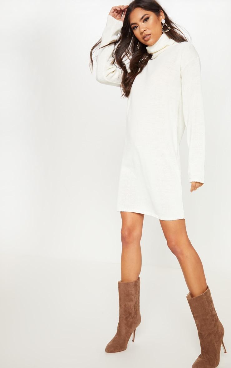 31119c9ddf3 Cream High Neck Knitted Jumper Dress image 1