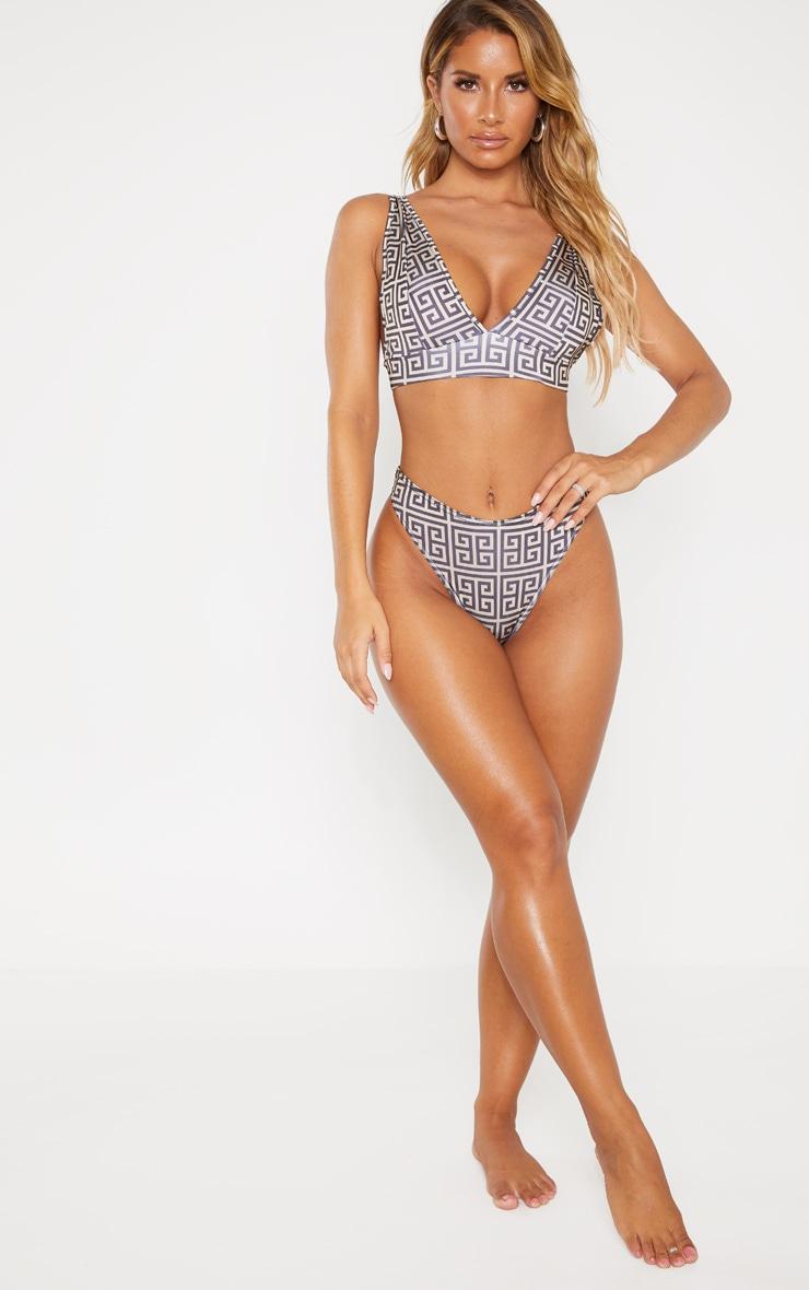 Cream Greek Key High Apex Bikini Top 4