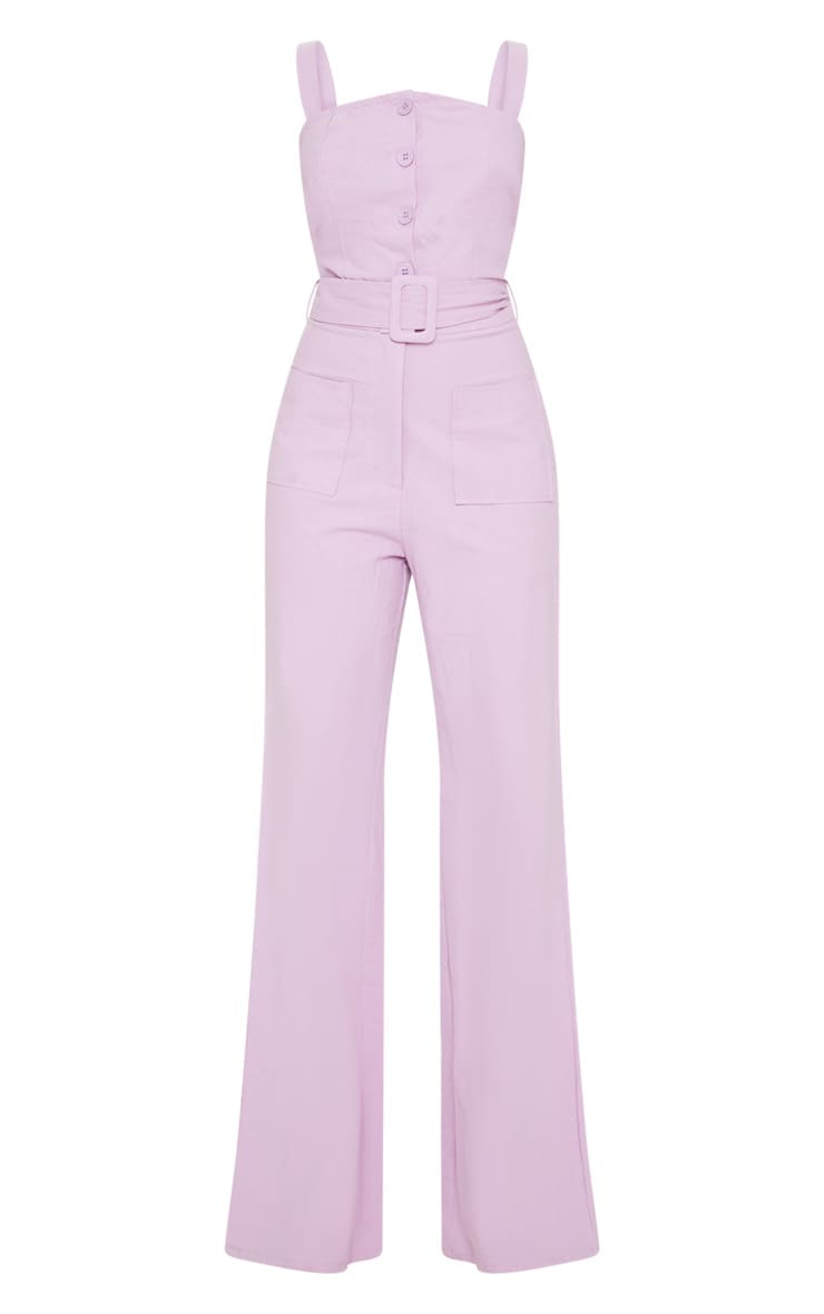 Petite Lilac Wide Leg Square Pocket Button Jumpsuit 3