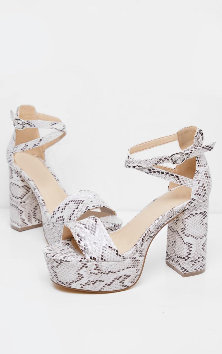 White Snake Platform Ankle Tie Block Heel Sandal 3