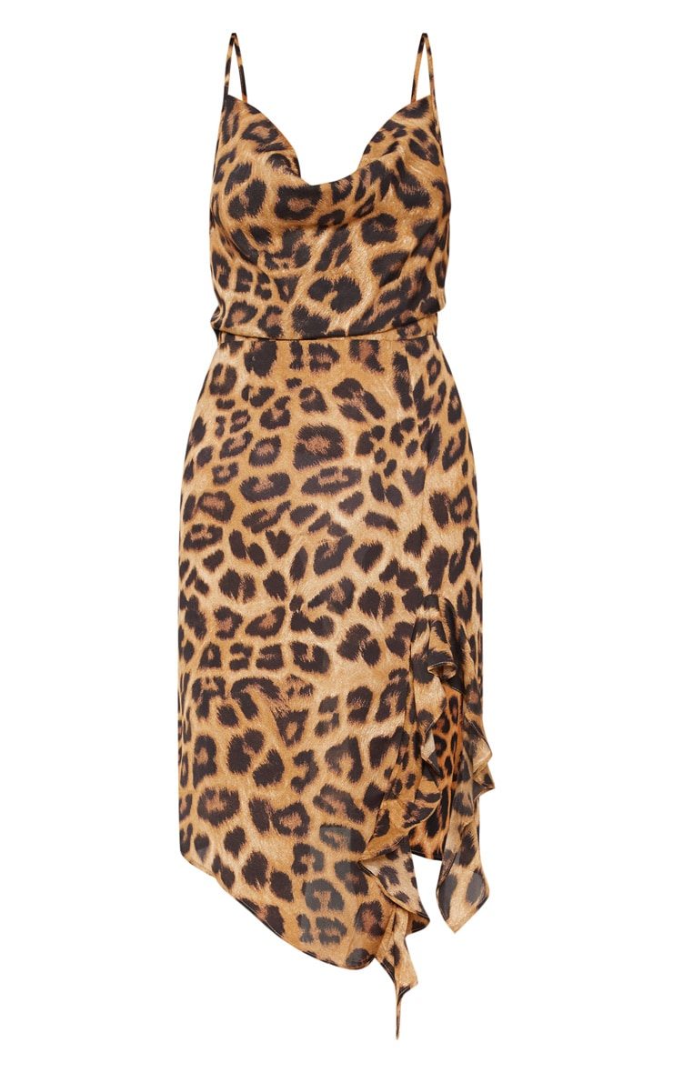 Tan Leopard Print Cowl Neck Frill Split Midi Dress 3