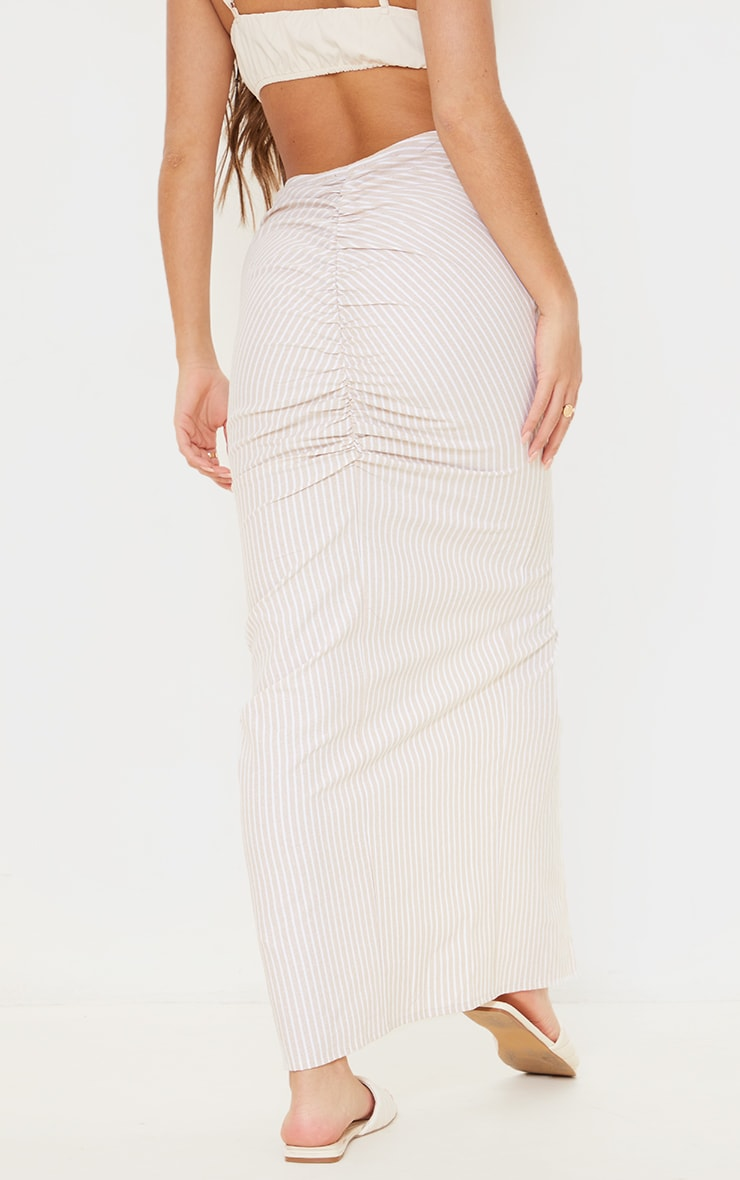 Stone Stripe Linen Look Ruched Detail Midaxi Skirt 3