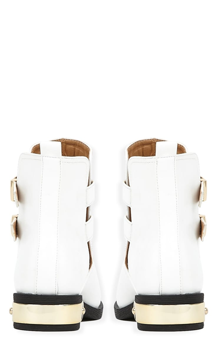 Juliet White Cut Out Ankle Boots-6 2