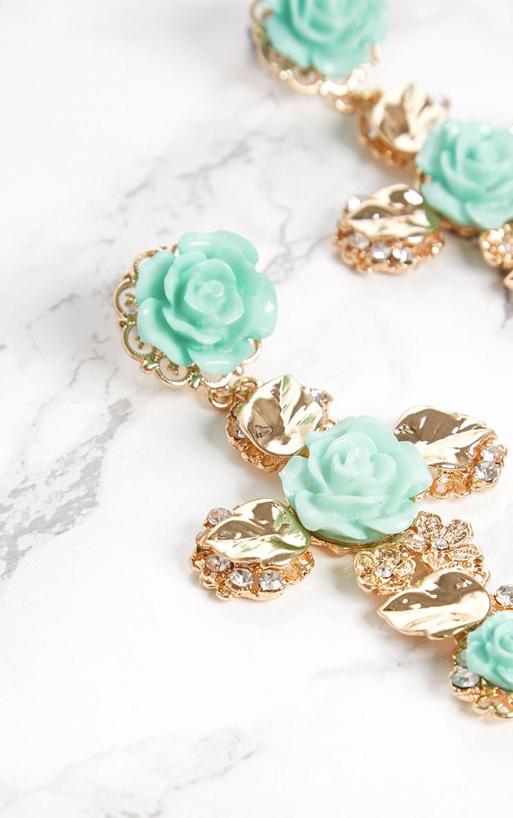 Turquoise Rose Cross Earrings 4