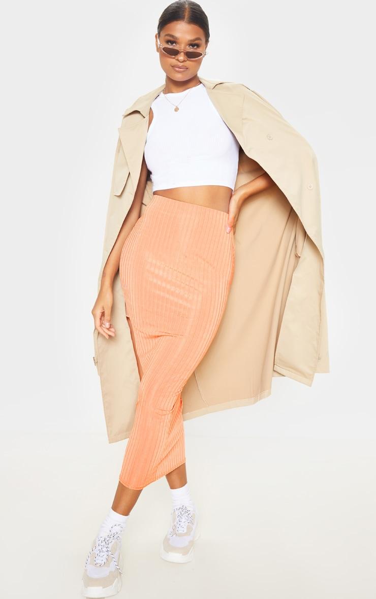 Peach Slinky Rib Midi Skirt  1