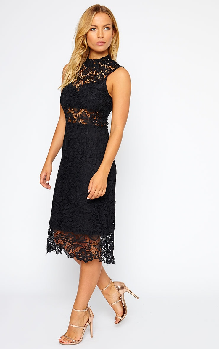 Lena Black Lace Midi Dress 4