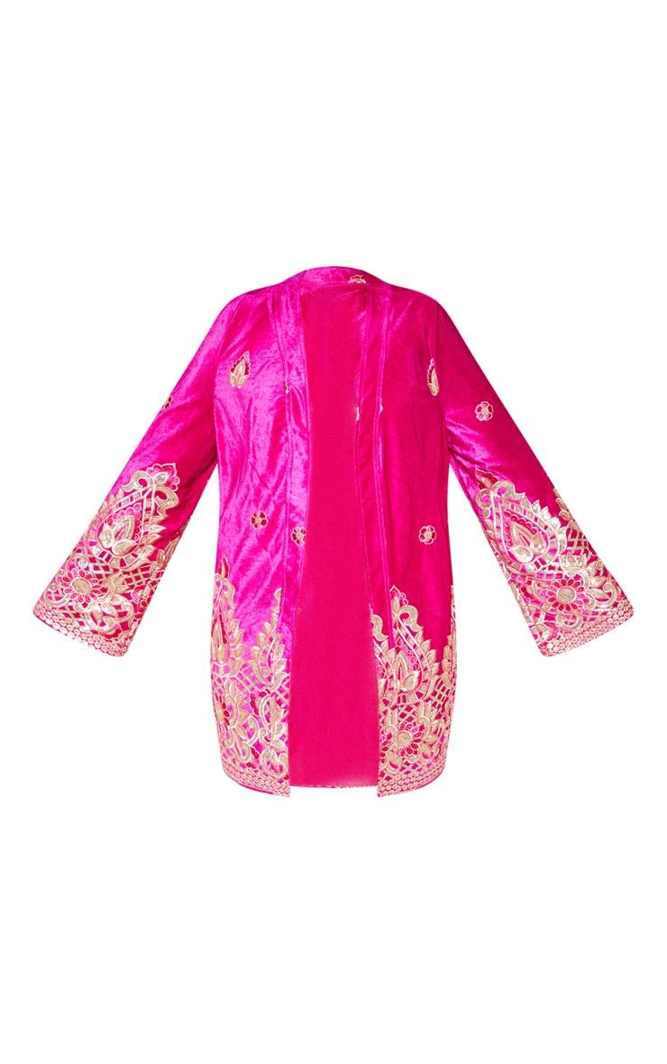 Plus Fuchsia Velvet Paisley Embroidered Kimono 4