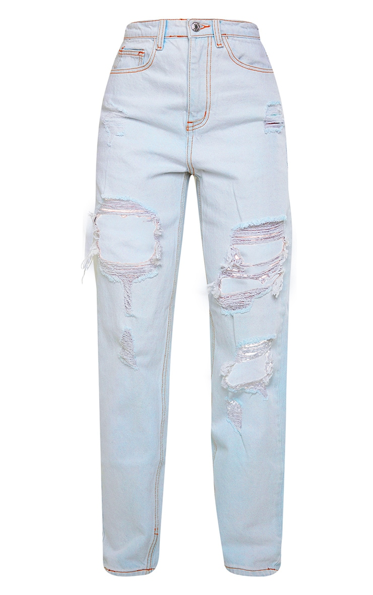 PRETTYLITTLETHING Light Bleach Wash Distressed Mom Jeans 5