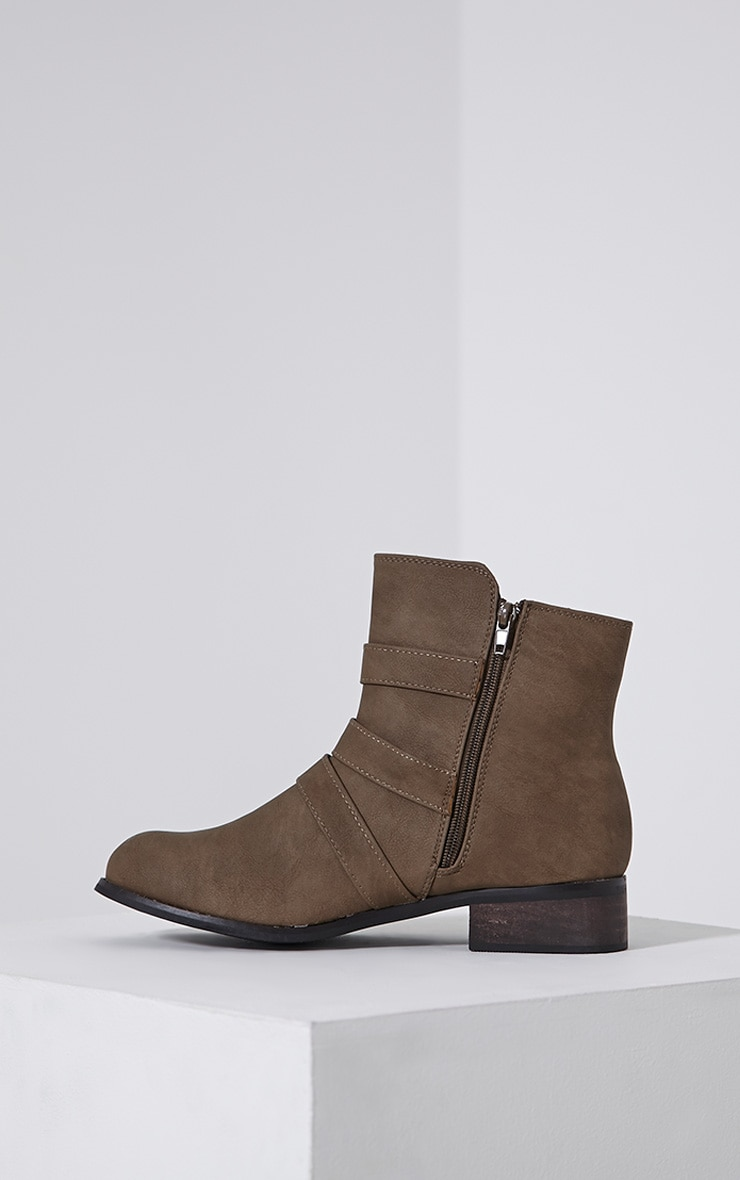 Martha Taupe Three Buckle Ankle Boots 4