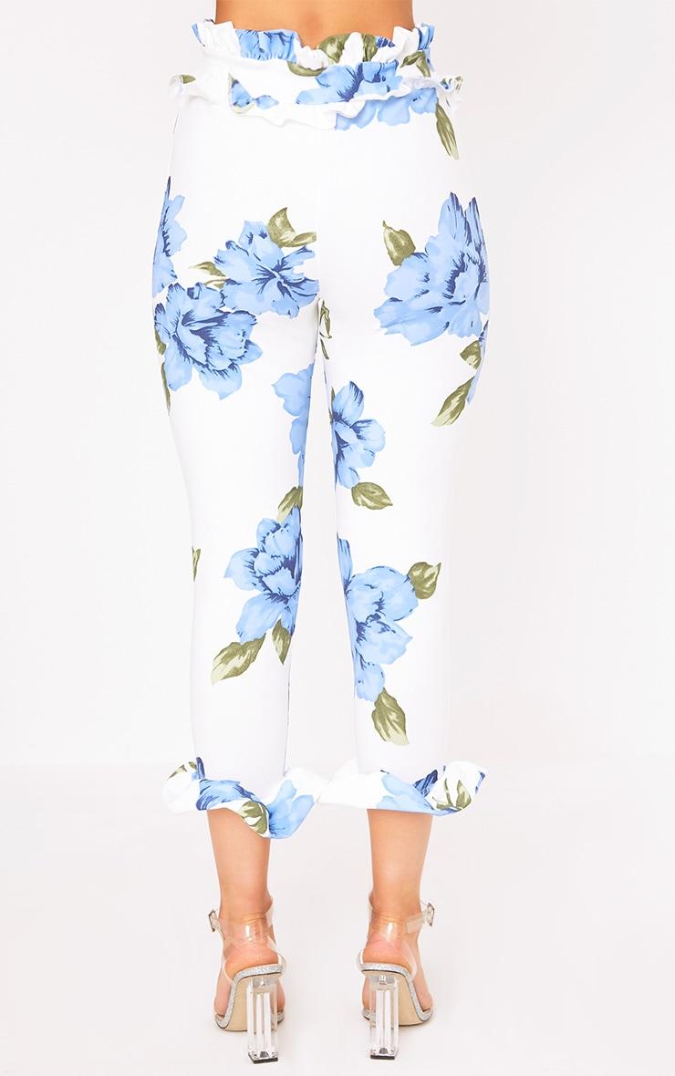 Keren Blue Floral Frill Trim Trousers 4