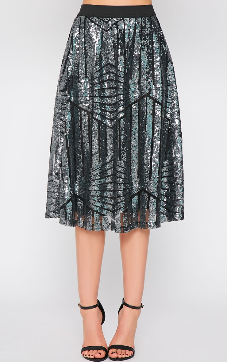Amelia Silver Sequin Pattern A Line Skirt  3