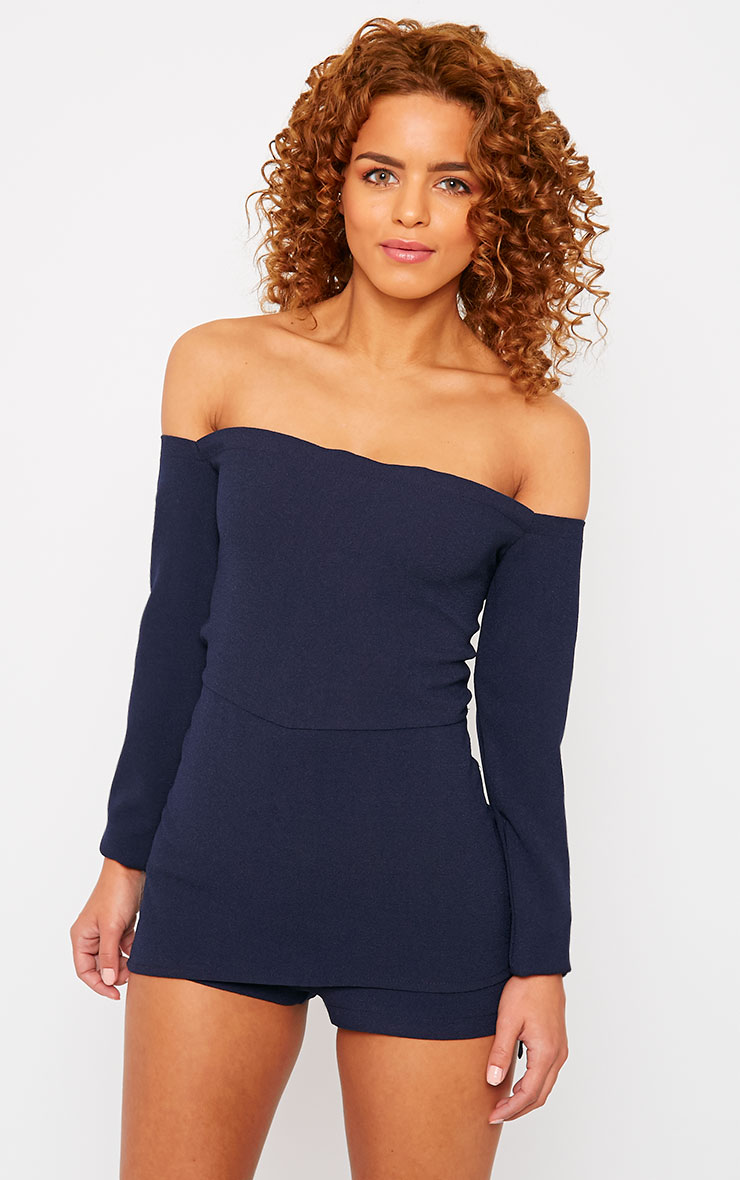 Tinley Navy Crepe Bardot Layered Playsuit 1